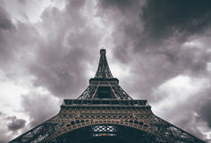 Eiffel Tower Low View during Cloudy Day Stock Photography