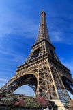 Eiffel Tower. The majestic Eiffel Tower rising up into the blue sky stock photos
