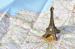 Eiffel tower. On the map Stock Photography