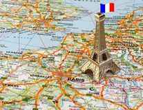 Eiffel tower on map. Eiffel tower on a map of France Stock Photos