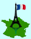 The Eiffel Tower with a map and flag of France Royalty Free Stock Photos