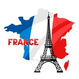 Eiffel Tower on map of France. Architectural sight illustration Royalty Free Stock Image