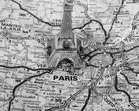 Eiffel Tower on a map of Paris. Short focus,  black and white version Stock Photography
