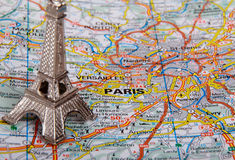 Eiffel Tower on a map of Paris. (short focus Royalty Free Stock Photo
