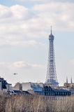 The Eiffel Tower and a military heliocpter Royalty Free Stock Image