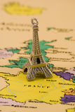 Eiffel tower model. And map of france Royalty Free Stock Image