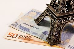 Eiffel tower on money. Eiffel tower on euro banknotes Royalty Free Stock Images