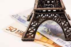 Eiffel tower on money. Eiffel tower on euro banknotes Royalty Free Stock Photo