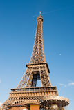 Eiffel Tower with the moon Royalty Free Stock Image