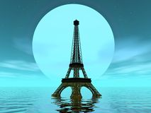 Eiffel tower by moonlight - 3D render Stock Photo