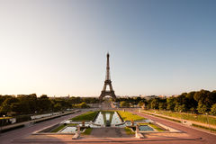 Eiffel tower in the morning. Eiffel tower with nearby square.as seen from Trocadero royalty free stock photography