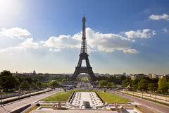 The Eiffel Tower in a morning spring haze Royalty Free Stock Photo