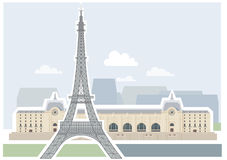 Eiffel Tower and Museum d'Orsay - Paris. Royalty Free Stock Photo