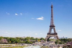 Eiffel Tower Near the Tress in Landscape Photography Royalty Free Stock Photo