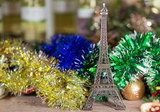 Eiffel Tower and New year's decoration Stock Images