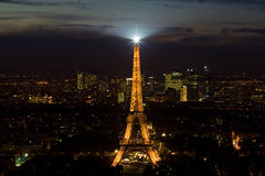 Eiffel tower at night. Aerial night view of the Eiffel tower with top light, Paris Royalty Free Stock Photography