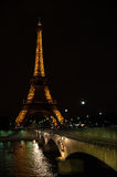 Eiffel tower at night. In Paris Royalty Free Stock Photography