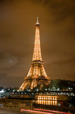 Eiffel Tower at night. Eiffel Tower at a cloudy night, viewed from the Georges Pompidou avenue, Paris Stock Photos