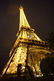 Eiffel tower at night. A bottom shot of Eiffel tower at night Royalty Free Stock Images