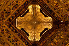 Eiffel Tower by night. Close view from the ground Royalty Free Stock Images