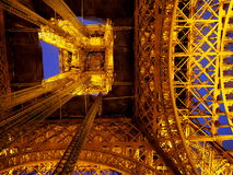 Eiffel Tower at night - close view from the ground. Eiffel Tower at night in Paris, France Royalty Free Stock Photos