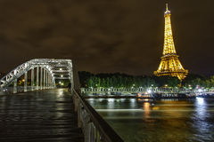 Eiffel Tower at Night and the Debilly Bridge Stock Photography