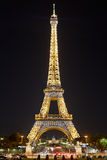 Eiffel tower by night, flashing lights in Paris Royalty Free Stock Photo