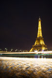 Eiffel Tower at Night and the Iena Bridge Stock Images