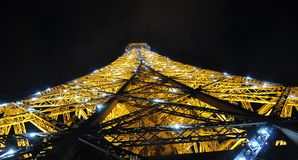 Eiffel Tower in night light, shining, Paris, France. stock images