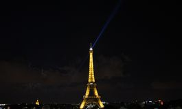 Eiffel Tower with night lights Royalty Free Stock Image
