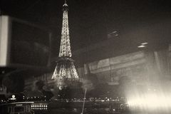 Eiffel tower. Night lights vintage traveling window view reflection Royalty Free Stock Photo