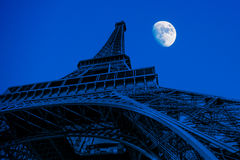 Eiffel Tower at night stock image