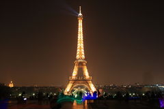 Eiffel Tower by night, Paris Stock Photo