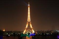 Eiffel Tower by night, Paris Stock Photo