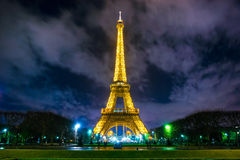 The Eiffel Tower at night, Paris. Royalty Free Stock Images