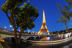 Eiffel Tower at night in Paris, France Royalty Free Stock Photography