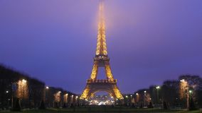 Eiffel Tower by Night Paris. France stock footage