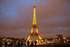 Eiffel tower at a night in Paris Stock Photos