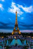 Eiffel Tower at night Royalty Free Stock Images