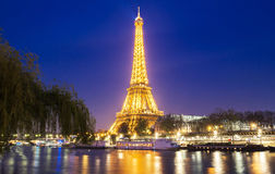 The Eiffel Tower at night, Paris, France. Royalty Free Stock Photos