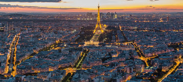 The Eiffel Tower at night in Paris, France Royalty Free Stock Photo