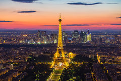 Eiffel Tower at night in Paris, France Royalty Free Stock Images