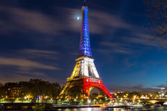 The Eiffel tower at night, Paris, France. Stock Photo