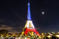 The Eiffel tower at night, Paris, France. stock photos