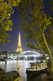 Eiffel Tower at night Stock Images