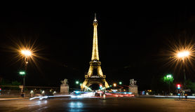 Eiffel tower at night in PAris Stock Photography