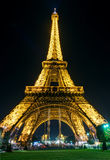 The Eiffel tower at night in Paris Stock Photo