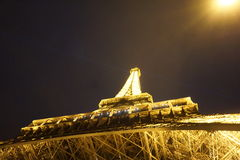 The Eiffel Tower at Night. In Paris from underneath Stock Photo