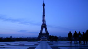 Eiffel tower night scene stock video footage