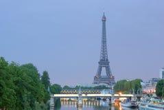Eiffel tower, night time, summ royalty free stock photos